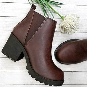 New Brown Chelsea Lug Combat Ankle Boots Booties
